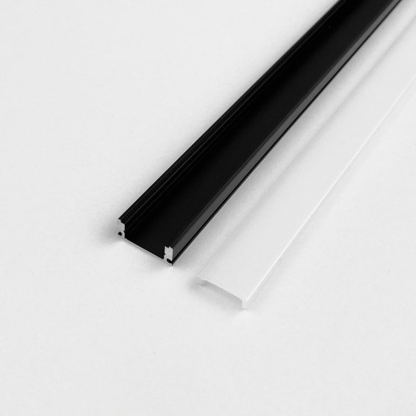 Profil LP-A  prosty czarny 1m kpl. klosz zaślepki uchwyty