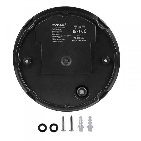 Plafon V-TAC 8W Okrągły Czarny IP66 VT-8014 3000K 560lm