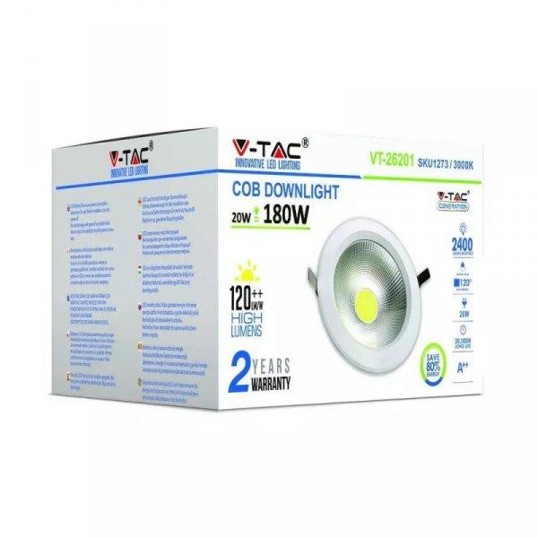 Oprawa 20W LED V-TAC COB Downlight Okrągły A++ 120lm/W VT-26201 6000K 2400lm