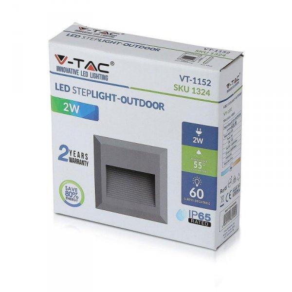 Oprawa Schodowa 2W LED V-TAC Szary Kwadrat 230V IP65 VT-1152 3000K 60lm