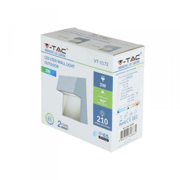 Oprawa Ścienna Elewacyjna 3W LED V-TAC Szary Kwadrat 230V IP65 VT-1172 4000K 210lm