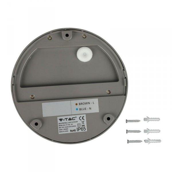 Oprawa Ścienna Elewacyjna 3W LED V-TAC Szara Okrągła 230V IP65 VT-1182 4000K 210lm
