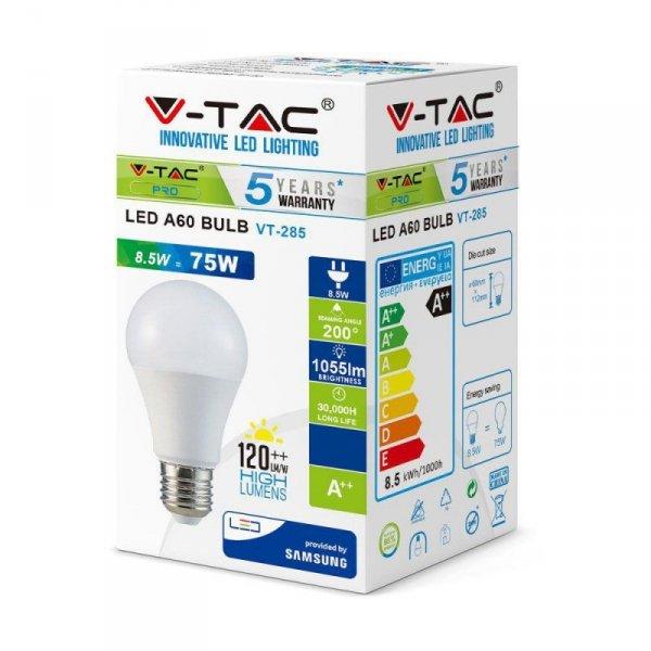 Żarówka LED V-TAC SAMSUNG CHIP 8.5W E27 A++ A60 VT-285 6400K 1055lm 5 Lat Gwarancji