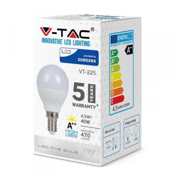 Żarówka LED V-TAC SAMSUNG CHIP 4.5W E14 A++ Kulka P45 VT-225 6400K 470lm 5 Lat Gwarancji