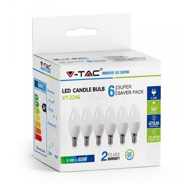Żarówka LED V-TAC 5.5W E14 Świeczka (Opak. 6szt) VT-2246 4000K 470lm
