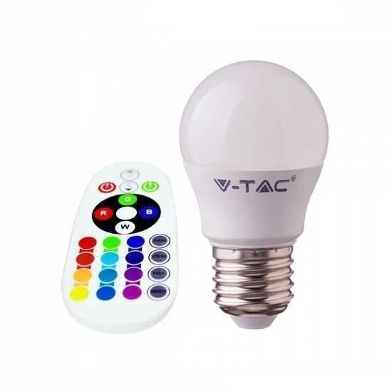 Żarówka LED V-TAC 3.5W E27 Kulka G45 Pilot VT-2224 3000K+RGB 320lm