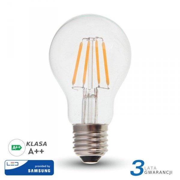 Żarówka LED V-TAC SAMSUNG CHIP 6W E27 Filament A++ A60 VT-256 2700K 806lm 3 Lata Gwarancji