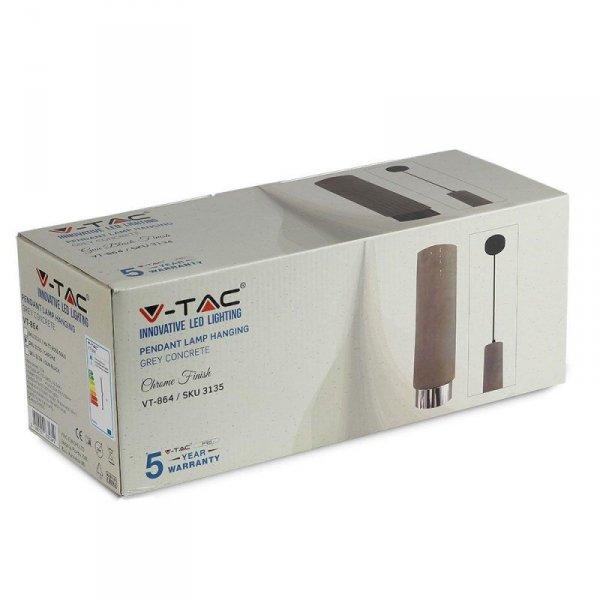 Oprawa V-TAC GIPS BETON GU10 Zwis Szary/Chrom VT-864 5 Lat Gwarancji