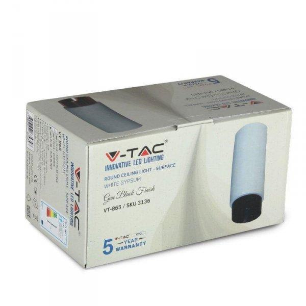 Oprawa V-TAC GIPS BETON GU10 Natynkowa Biały/Czarny Mat VT-865 5 Lat Gwarancji