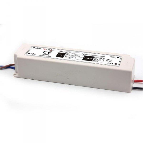 Zasilacz LED V-TAC 100W 12V 8.3A IP67 Hermetyczny Filtr EMI VT-22101
