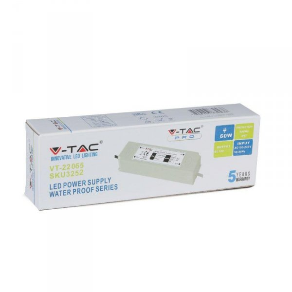 Zasilacz LED V-TAC 60W 12V 5A IP67 Hermetyczny Filtr EMI VT-22065 5 Lat Gwarancji