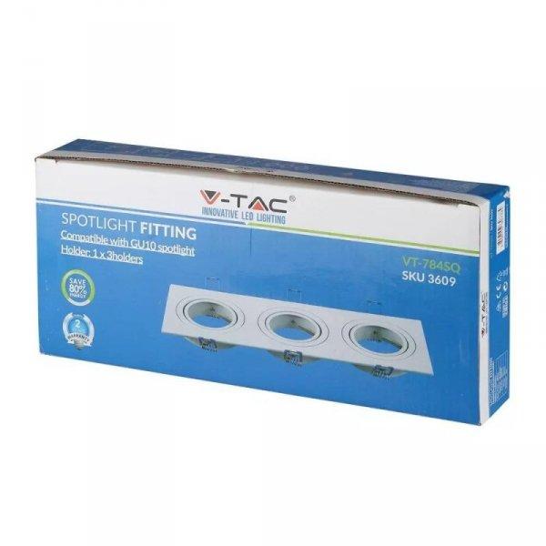 Oprawa Oczko V-TAC Aluminiowa Odlew 3xGU10 Kwadrat Biały VT-784
