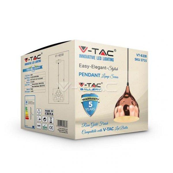 Oprawa Wisząca V-TAC Różowe Złoto fi230 VT-8230 5 Lat Gwarancji