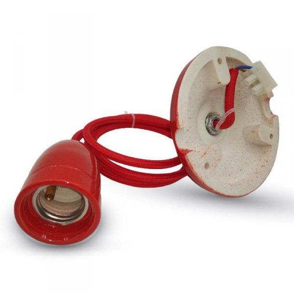 Oprawka Porcelanowa z Przewodem Czerwona V-TAC VT-7998 5 Lat Gwarancji