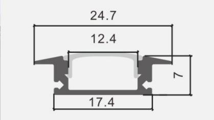 Profil LP-B wpuszczany 1m kpl. klosz zaślepki uchwyty