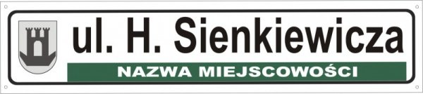 Tablica z nazwą ulicy i herbem 75 cm x 16,5 cm (odblask)