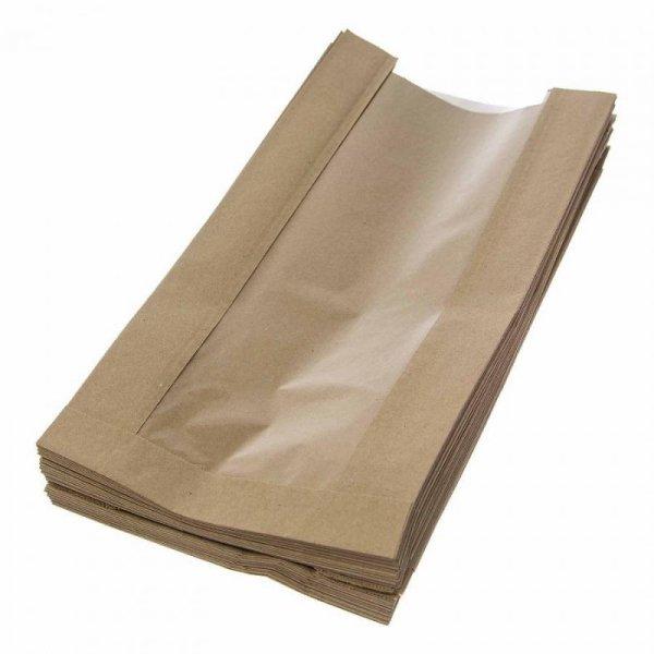 Torebka papierowa szara z okienkiem 280x150x70+70, 1000szt