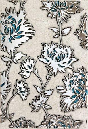 Domino Gris Flower Turkus Dekor 25x36