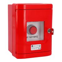 Przycisk wystający 2Z czerwony w obudowie OBC pierścień niklowany SP22-WC-20/OBC/B