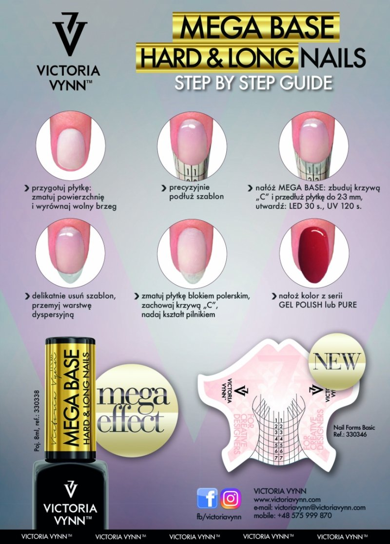 Gel Polish Base - Mega Base HARD - kolor Cold Pink