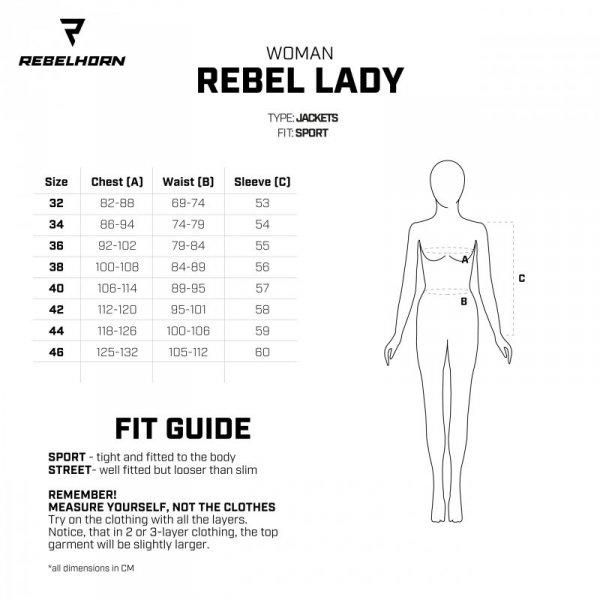 KURTKA SKÓRZANA REBELHORN REBEL LADY BLACK/FLO RED/WHITE D34