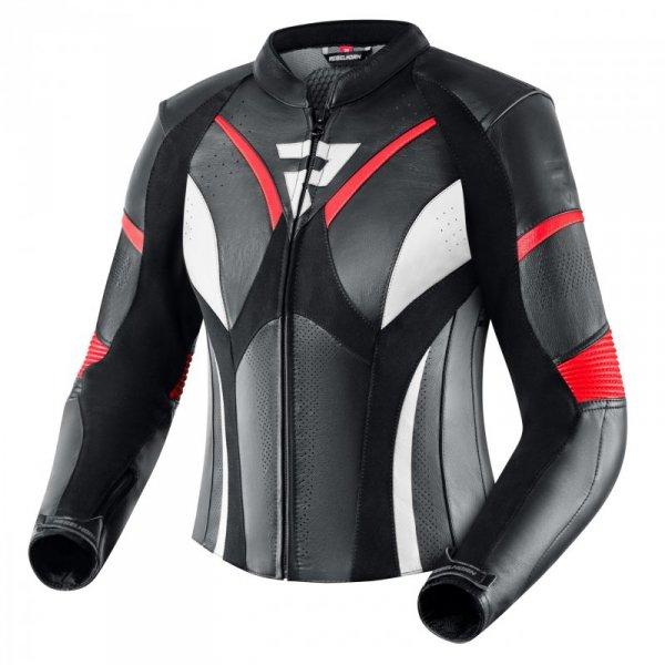 KURTKA SKÓRZANA REBELHORN REBEL LADY BLACK/FLO RED/WHITE D36