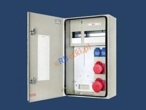 Rozdzielnica RB-4 1x32A/5p, 1x16A/5p, 2x230V, blaszana obudowa, okienko na 15 mod, deska licznik 3faz. IP54