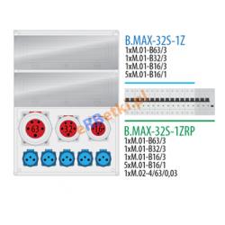 Rozdzielnica MAX BOX-32S 1x63A/5p, 1x32A/5p, 1x16A/5p, 5x230V zabezp. 1xM.01-B63/3, 1xM.01-B32/3, 1xM.01-B16/3, 5xM.01-B16/1, IP65
