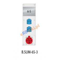 Rozdzielnica R-BOX SLIM 6S 1x16A/5p, 2x230V, zabezp. 1xM.01-B16/3, 2xM.01-B16/1, IP44