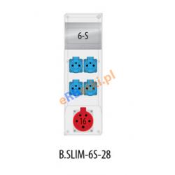 Rozdzielnica R-BOX SLIM 6S 1x16A/5p, 4x230V, zabezp. 1xM.02-4/25/0,03, 2xM.01-B16/1, IP44