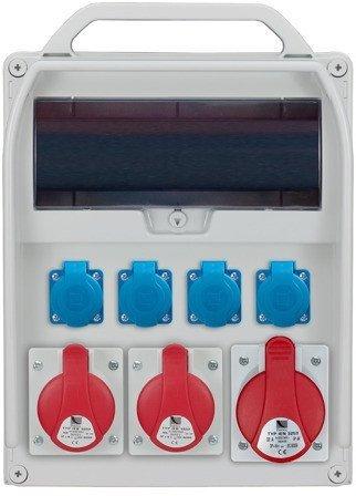 Rozdzielnica R-BOX 380R 13S 1x32A/5p, 2x16A/5p, 4x230V, puste okno, IP44