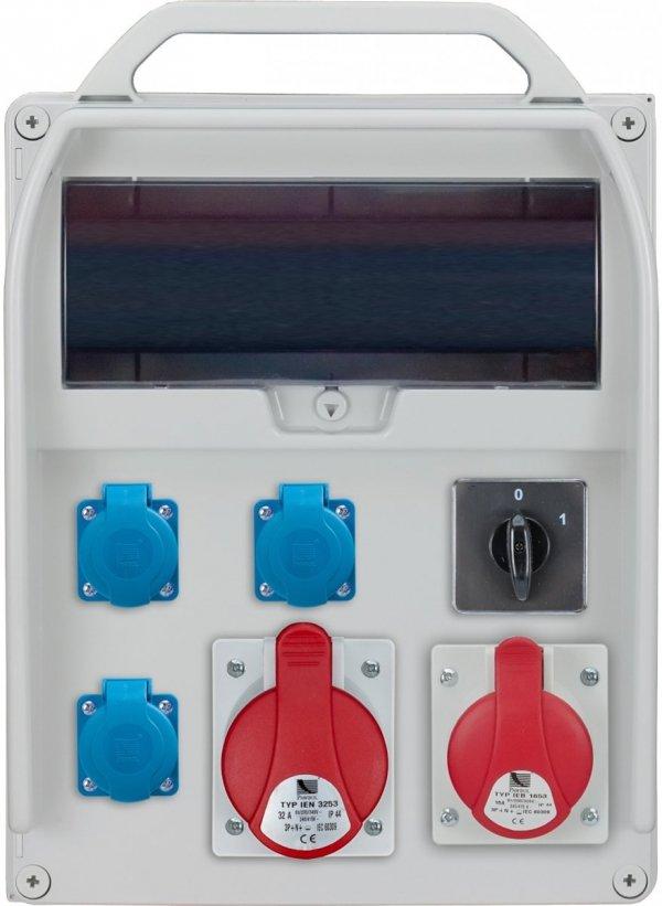 Rozdzielnica R-BOX 380R 13S 1x32A/5p, 1x16A/5p, 3x230V, wył. (0/1), puste okno, IP 44