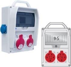 Rozdzielnica R-BOX 300R 1x16A/5p, 1x32A/5p 9S zabezp. 1xM.01-B32/3, 1xM.01-B16/3, IP44