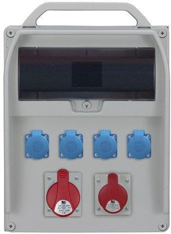 Rozdzielnica R-BOX 460R 17S 1x32A/5p, 1x16A/5p, 4x230V, puste okno, IP 44