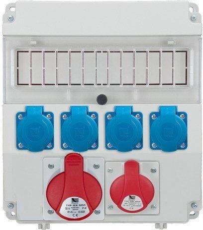 Rozdzielnica R-BOX LUX-320 1x16A/4P, 1x32A/4p, 4x230V puste okno, IP 44