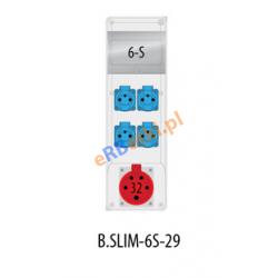 Rozdzielnica R-BOX SLIM 6S 2x32A/5p, 2x230V, zabezp. 1xM.02-4/40/0,03, 2xM.01-B16/1, IP44