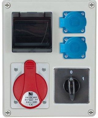 Rozdzielnica R-BOX 240R 4S 1x32A/5p, 2x230V, wył. (0/1), zabezp. 1xM.01-B32/3, 1xM.01-B16/1, IP44