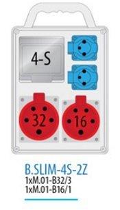 Rozdzielnica R-BOX SLIM 4S 1x16A/5p, 1x32A/5p, 2x230V zabezp. 1xM.01-B32/3, 1xM.01-B16/1 IP, 44