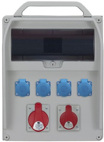 Rozdzielnica R-BOX 380R 13S 1x32A/5p, 1x16A/5p, 4x230V, puste okno, IP 44
