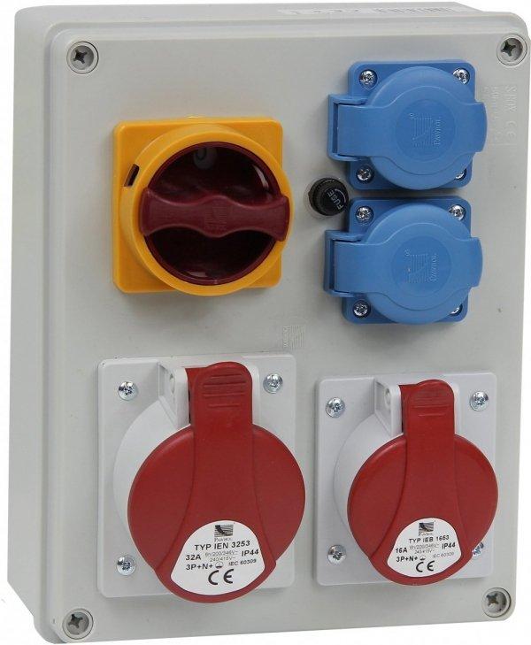 Rozdzielnica R-BOX 240 1x32A/5p, 1x16A/5p, 2x230V, wył. (0/1), IP44 B.1094W