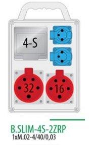 Rozdzielnica R-BOX SLIM 4S 1x16A/5p, 1x32A/5p, 2x230V zabezp. 1xM.02-4/40/0,03, IP 44