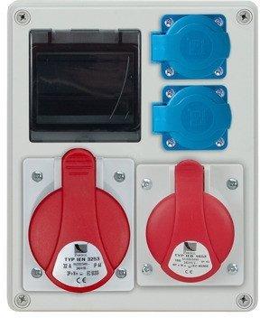 Rozdzielnica R-BOX 240 4S, 1x32A/5p, 1x16A/5p, 2x230V, puste okno, IP44 B.1701