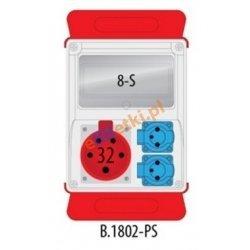 Rozdzielnica R-BOX 240 8S 1x32A/5p, 2x230V, puste okno, podstawa stalowa (komplet 2 szt.), IP44
