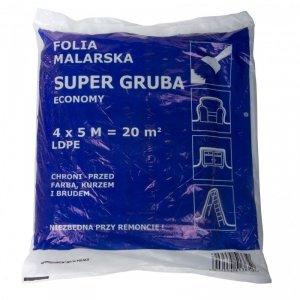 FOLIA MALARSKA HDPE 4*5M, CIENKA (GRUBOŚĆ: OK.7 MIKRO-M)