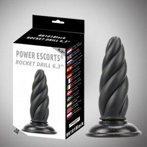 Rocket drill 6,3 inch black  big anal plug 6,3 inch / 16 cm