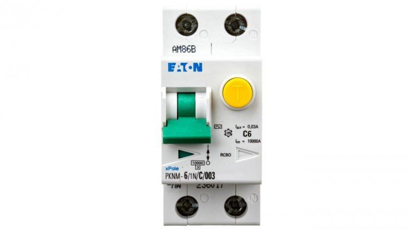 Wyłącznik różnicowo-nadprądowy 2P 6A C 0,03A typ AC PKNM 6/1N/C/003-MW 236017