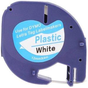 Taśma do Dymo LetraTag 59422 12mm x 4m Biała Plastik - zamiennik GP-DY91201