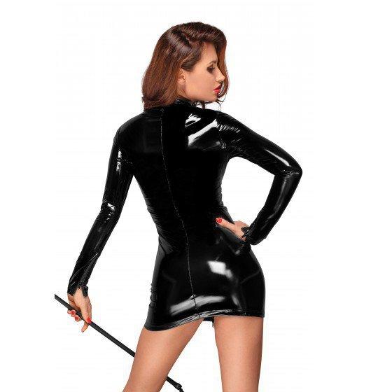 F187 PVC mini dress with black 2-way zipper in the front XL