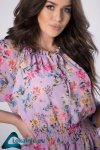 szyfonowa sukienka z dekoltem carmen