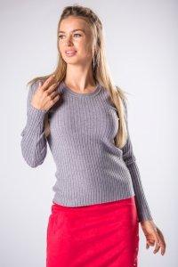 dopasowany sweter z długim rękawem i prążkowanym splotem